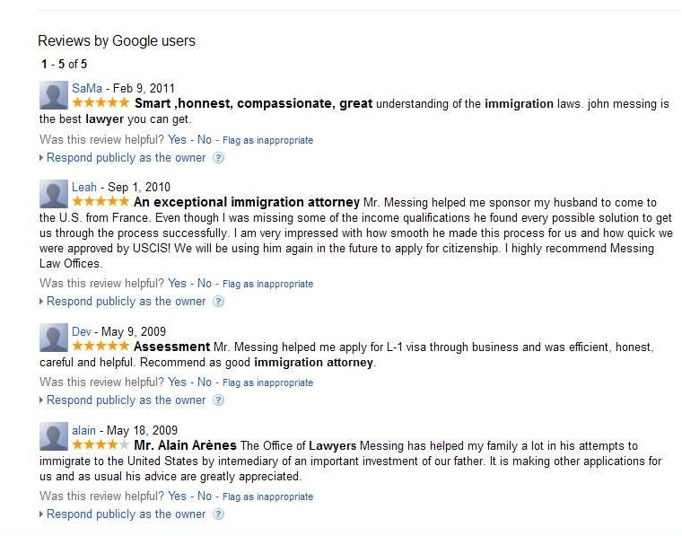 Google Reviews of Messing Law Offices