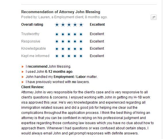 Avvo Reviews of Messing Law Offices, II