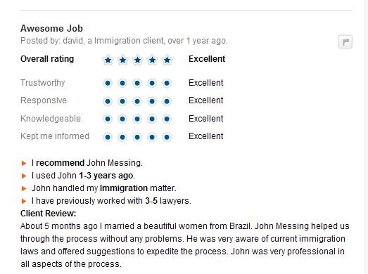 Avvo Reviews of Messing Law Offices, III