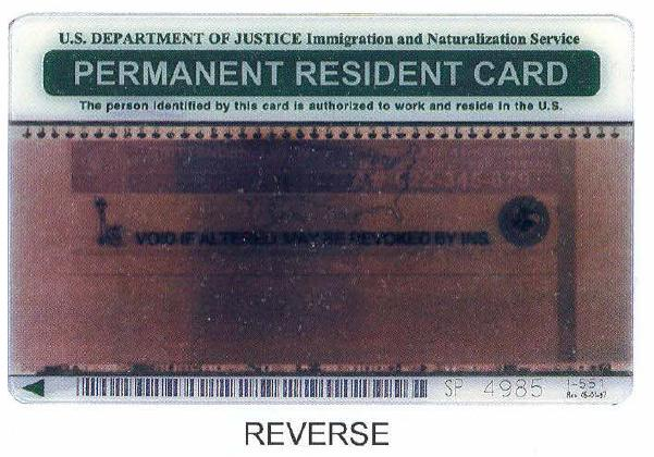 Older permanent resident card back by Tucson Arizona Immigration Attorney LawyerJohn Messing